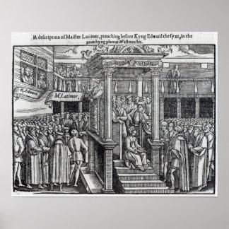 Hugh Latimer que predica ante rey Edward VI Posters