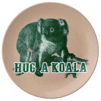 Hugh una placa de la porcelana de la koala plato de cerámica