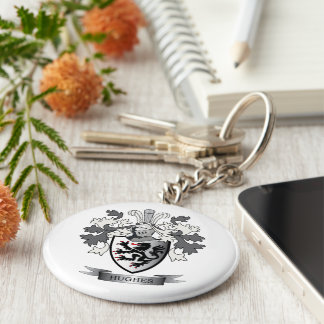 Hughes Family Crest Coat of Arms Keychain