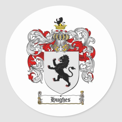 HUGHES FAMILY CREST -  HUGHES COAT OF ARMS CLASSIC ROUND STICKER