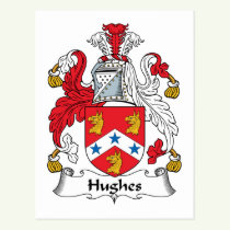 Hughes Family Crest Postcard