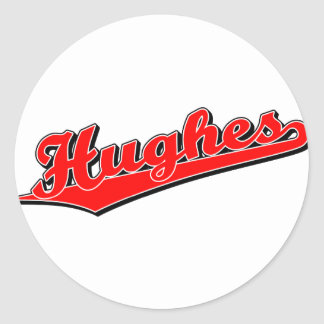 Hughes in Red Classic Round Sticker