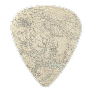 Hughes Military Map Of Richmond and Petersburgh Acetal Guitar Pick
