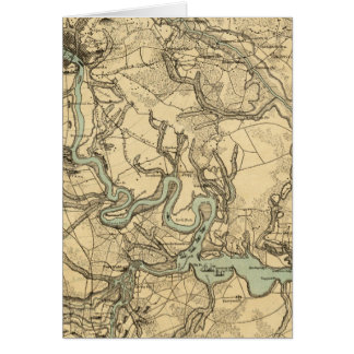 Hughes Military Map Of Richmond and Petersburgh Greeting Card