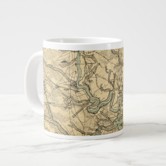 Hughes Military Map Of Richmond and Petersburgh Large Coffee Mug