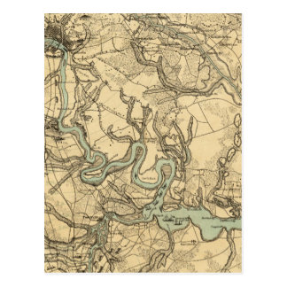 Hughes Military Map Of Richmond and Petersburgh Postcard