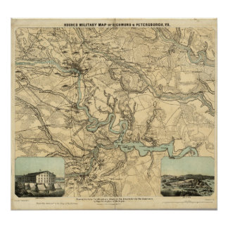 Hughes Military Map Of Richmond and Petersburgh Poster