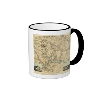 Hughes Military Map Of Richmond and Petersburgh Ringer Mug
