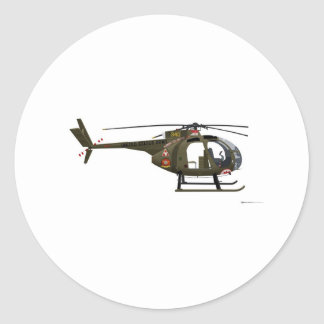 Hughes OH-6 Cayuse Miss Clawd Classic Round Sticker