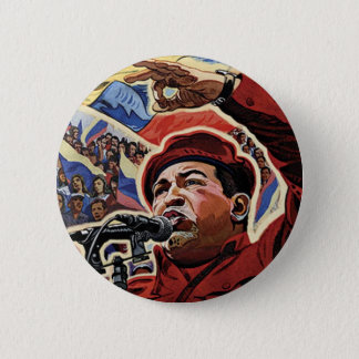 Hugo Chavez - Cartoon Revolution style Pinback Button