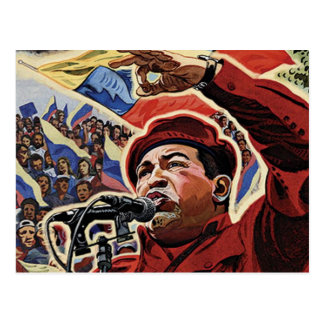 Hugo Chavez - Cartoon Revolution style Postcard