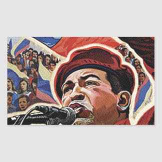 Hugo Chavez - Cartoon Revolution style Rectangular Sticker