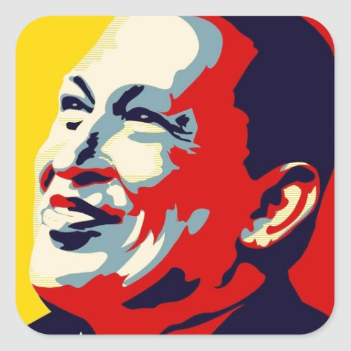 Hugo Chavez - estilo de la esperanza de Obama Pegatina Cuadrada