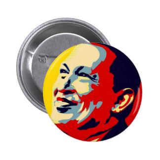 Hugo Chavez - estilo de la esperanza de Obama Pin Redondo 5 Cm