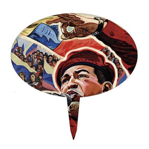 Hugo Chavez - estilo de la revolución del dibujo a Figura De Tarta