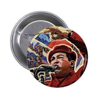 Hugo Chavez - estilo de la revolución del dibujo a Pin Redondo De 2 Pulgadas