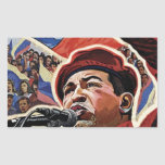 Hugo Chavez - estilo de la revolución del dibujo Pegatina Rectangular