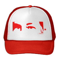 Hugo Chávez: Eyes and signature (red) Mesh Hats