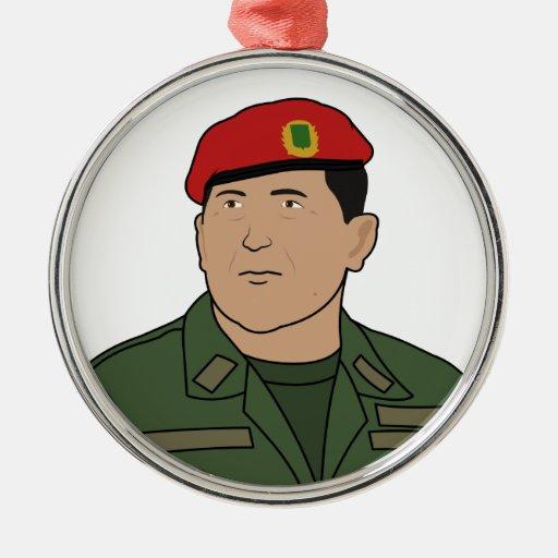Hugo Chavez - Hugo el estilo del dibujo animado de Adorno Navideño Redondo De Metal