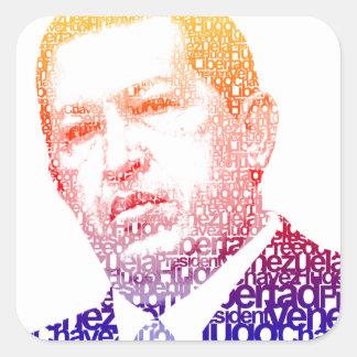 Hugo Chavez - Hugo en estilo de las palabras Pegatina Cuadrada