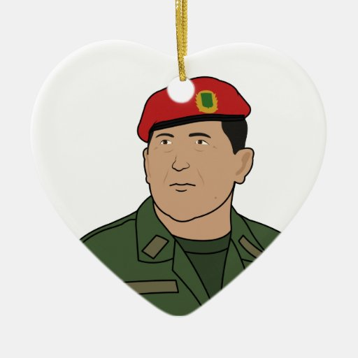Hugo Chavez - Hugo the Red Hat Cartoon style Double-Sided Heart Ceramic Christmas Ornament