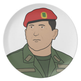 Hugo Chavez - Hugo the Red Hat Cartoon style Party Plates