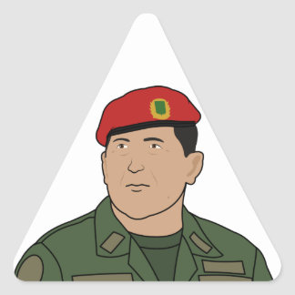 Hugo Chavez - Hugo the Red Hat Cartoon style Triangle Stickers