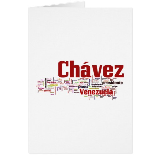 Hugo Chavez - Many Colorful Words style Greeting Card