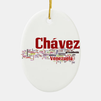 Hugo Chavez - Many Colorful Words style Ceramic Ornament