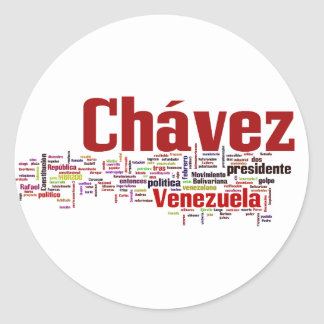 Hugo Chavez - Many Colorful Words style Classic Round Sticker