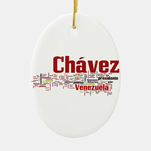 Hugo Chavez - Many Colorful Words style Double-Sided Oval Ceramic Christmas Ornament