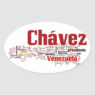 Hugo Chavez - Many Colorful Words style Oval Sticker