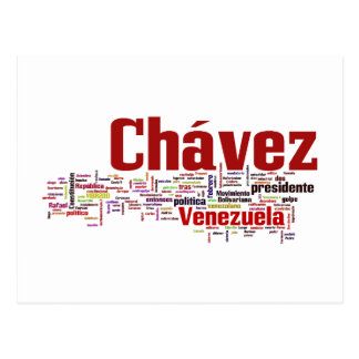 Hugo Chavez - Many Colorful Words style Postcard