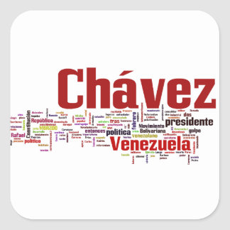 Hugo Chavez - Many Colorful Words style Square Sticker
