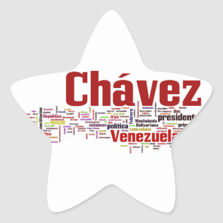 Hugo Chavez - Many Colorful Words style Star Sticker