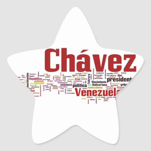 Hugo Chavez - Many Colorful Words style Star Stickers