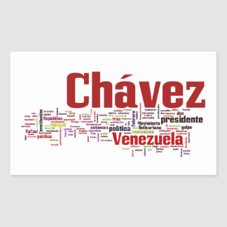 Hugo Chavez - Many Colorful Words style Rectangle Sticker