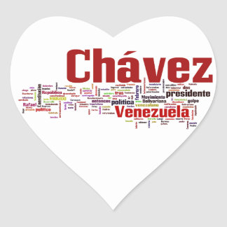 Hugo Chavez - Many Colorful Words style Heart Stickers