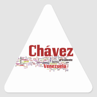 Hugo Chavez - Many Colorful Words style Triangle Sticker