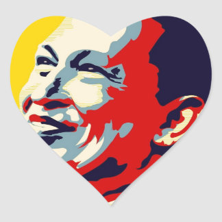 Hugo Chavez - Obama Hope style Heart Sticker