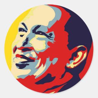 Hugo Chavez - Obama Hope style Round Sticker