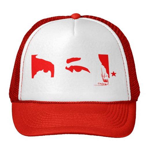 Hugo Chávez: Ojos y firma (rojo) Gorro De Camionero