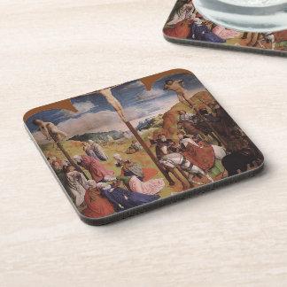 Hugo van der Goes-Calvary Triptych (Central panel) Coasters