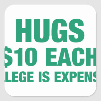 Hugs $10 each - College is expensive Square Sticker