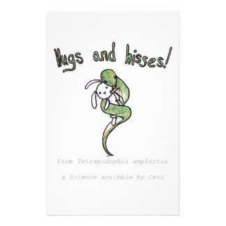 Hugs and Hisses from a four legged snake Stationery