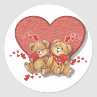 Hugs and Kisses Bears Classic Round Sticker