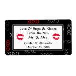 Hugs and Kisses Black Red Wedding Favor Labels