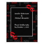 Hugs and Kisses Black Red Wedding Response Cards Personalized Invitations
