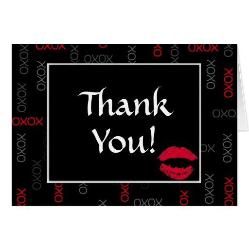 Hugs and Kisses Black Red Wedding Thank You Notes Card