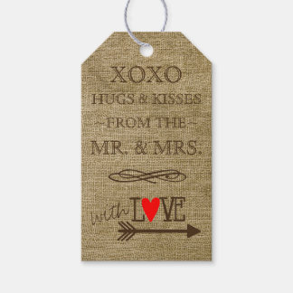 Hugs and Kisses From The Mr and Mrs Rustic Country Pack Of Gift Tags